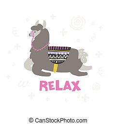 Lama In Relax - Lama is getting a relaxation. Handdrawn...