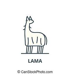 lama, linearny, pojęcie, symbol, znak, wektor, ikona, kreska, szkic