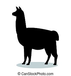 Lama mammal black silhouette animal