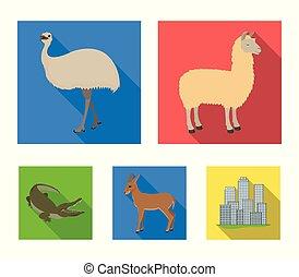 lama, ostrich emu, young antelope, animal crocodile. Wild...