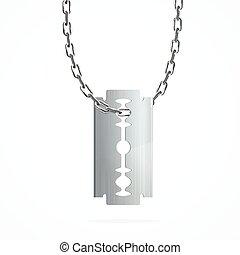 lama rasoio, su, argento, chain., vettore