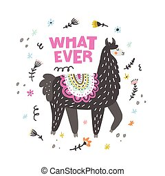 Lama Said Whatever - Charming lama vector illustration...