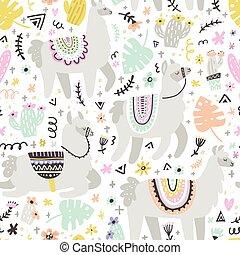 Lama Seamless Pattern