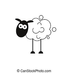 Lamb. Abstract Vector Sign, Symbol Or Logo Template. Hand Drawn Lamb Sillhouette With Retro Typography.