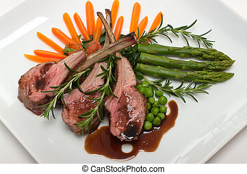Lamb Chop - Gourmet lamb chop with vegetables, herbs and...