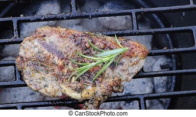 lamb chop on barbecue