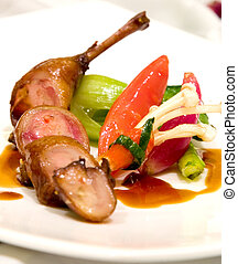 Lamb Chops - Lamb chops served with zucchini and peppers