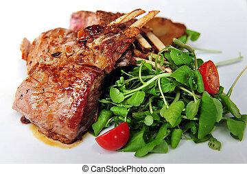 Lamb Chops with Salad - Lamb chops and green salad with baby...