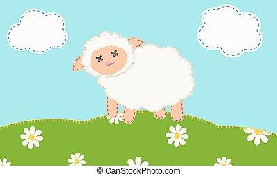 Lamb - Cute lamb on the grass .