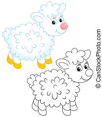 Lamb - Little white sheep, color and black-and-white outline...