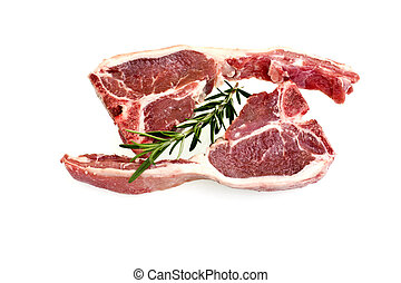 Lamb Loin Chops - Raw lamb loin chops with rosemary and fat ...