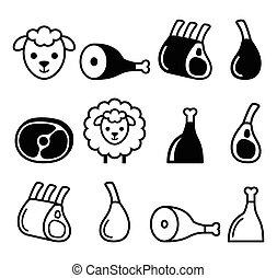 Lamb meat, leg of lamb, lamb shanks and ribs icons set