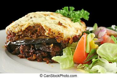Lamb Moussaka - Lamb moussaka with egg plant cheese and...