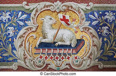 Lamb of God (Agnus Dei) mosaic in the Martini church in ...