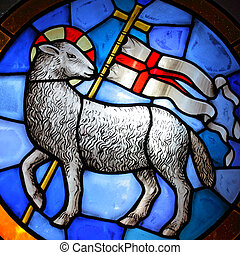 Lamb of God stained glass in Cathedral in Florence. (18-th ...