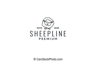 lamb or sheep or goat cute cartoon line logo icon illustration vector
