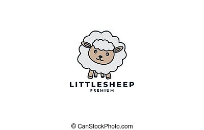 lamb or sheep or goat cute cartoon logo icon illustration vector