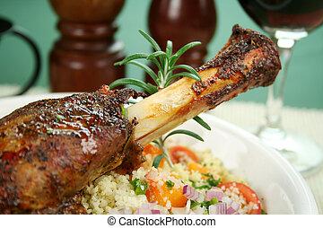 Lamb Shank With Rosemary - Roasted lamb shank on tomato,...