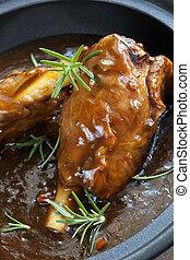 Lamb Shanks in Gravy - Lamb shanks in gravy, with rosemary.