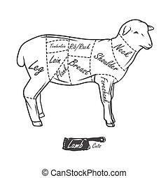 lamb., szüret, nyomdai, hentes, amerikai, darabol, tervez, ...