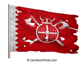 lambeaux, drapeau, manteau, bras croisés, onduler, haches, moyen-âge, viking, chevalier