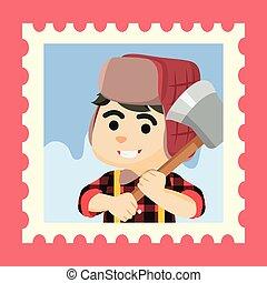 lamberjack in stamp