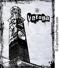 Lamberti Tower in Piazza Signori in Verona , Italy