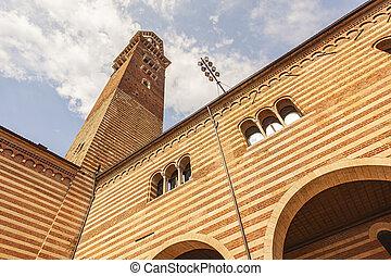 Lamberti tower seen from Piazza dei Signori in Verona