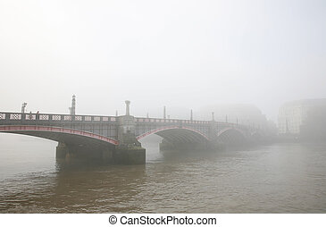 Lambeth Bridge in Fog - Lambeth bridge in fog seen from...