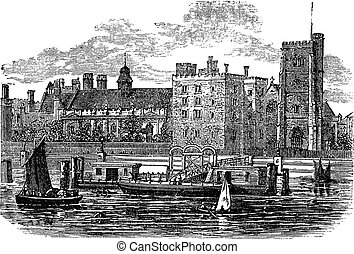 Lambeth Palace, London vintage engraving. Old engraved...