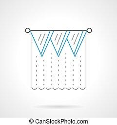 Lambrequin flat blue line vector icon