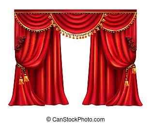 lambrequin, réaliste, vecteur, rideau, soie, rouges