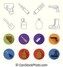 lame, style, ensemble, armée, grenade, icônes, web., flacon,...