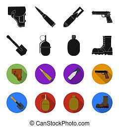 lame, style, ensemble, armée, noir, grenade, icônes, web.,...