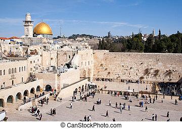 lamentando parede, israel, -