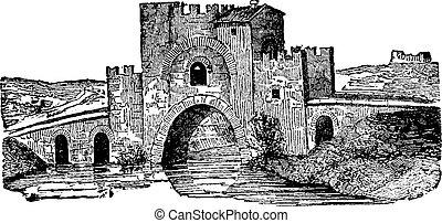 Lamentano fortified bridge, vintage engraving.