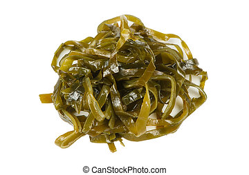 A close-up of laminaria (kelp) isolated on a white background