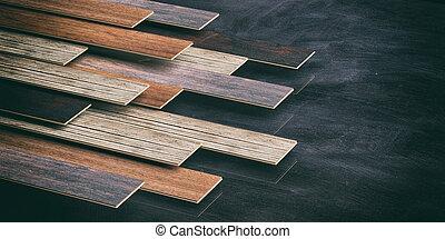 Laminate floor on black background. 3d illustration