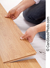laminate, lagd, -, närbild, golvmaterial