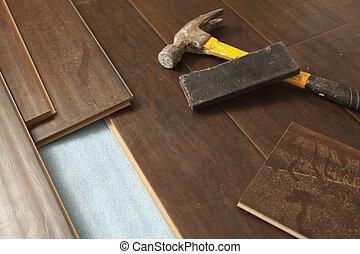 laminate, martillo, bloque, embaldosado, nuevo