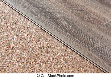 Laminate on natural cork - Laminate with Wood Texture on...