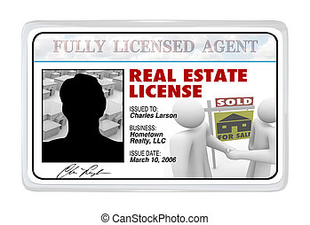 Laminated Card - Real Estate License for Agent Professional...