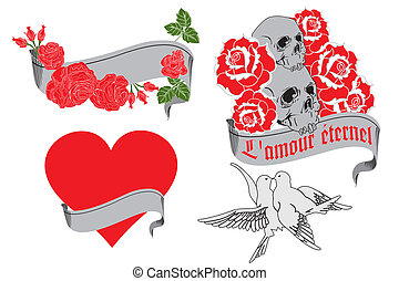 L'amour ?ternel - retro tattoo designs