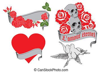 L'amour ?ternel - retro tattoo designs