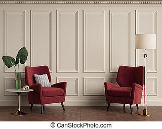 lamp., クラシック, 床, 肘掛け椅子, 暖かい, 色, 内部