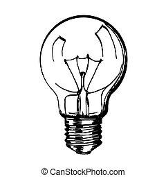 lamp., スケッチ, 手, 引かれる