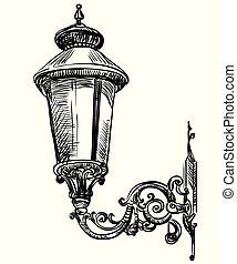lamp-1, vecteur, rue