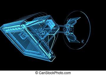Lamp 3D xray blue transparent