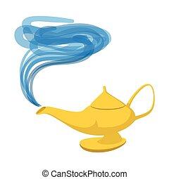 Lamp Aladdin cartoon icon. Magic symbol on a white...