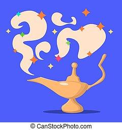 Lamp Aladdin with gin, the magic lamp of Aladdin. Flat...